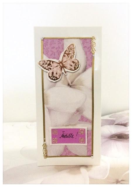 perhonen kortti äitienpäivä kukka