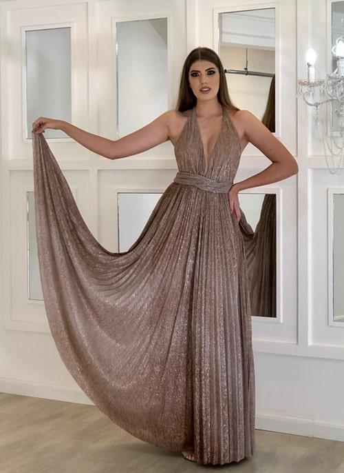 vestido de festa longo de lurex plissado
