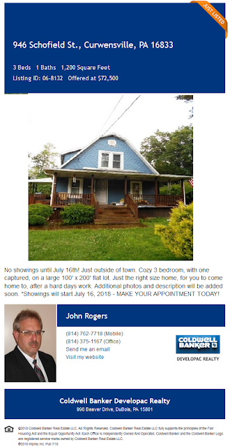 John A Rogers Coldwell Banker Developac Realty 946 Schofield Street Curwensville Pa for sale
