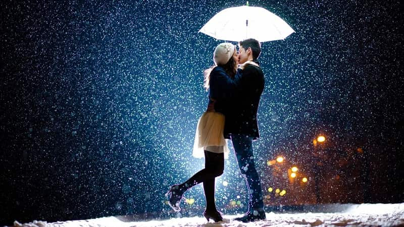 Romantic Couple Kissing Photo in Rain