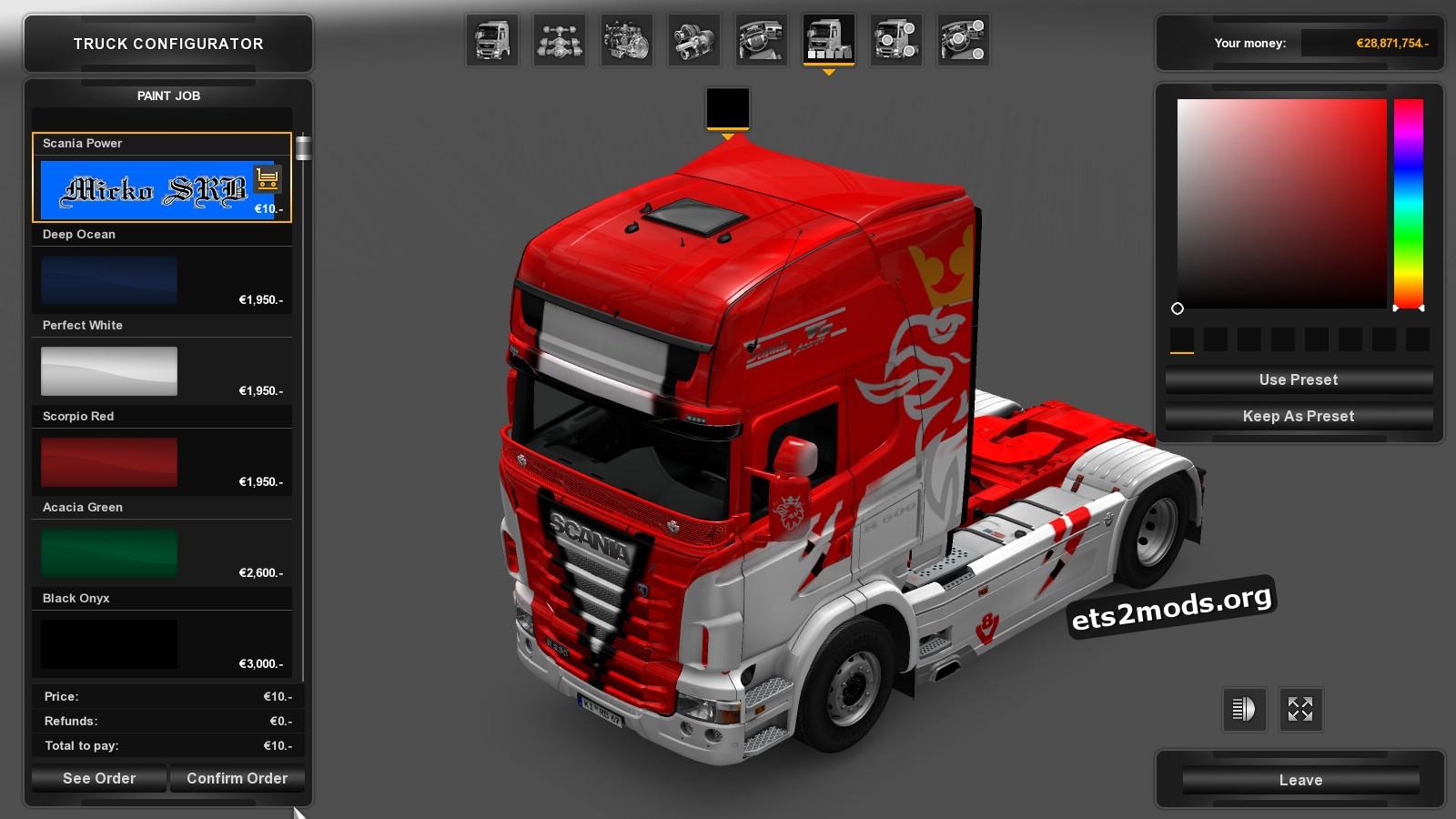 Scania RJL Red 8/ Power Skin