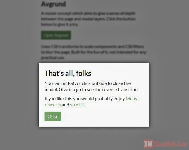 Avgrund - Magic UI Modal