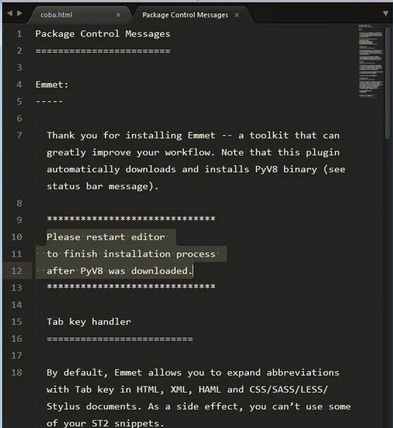 Sublime text 3 - Plugin Emmet 3