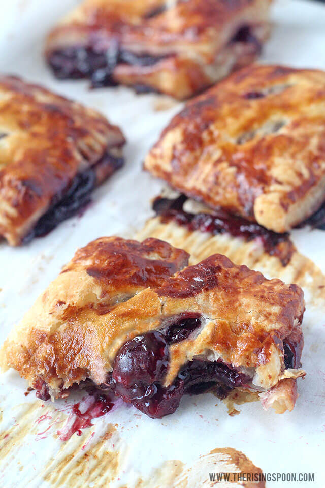 Cherry Turnovers with Puff Pastry Crust & a Homemade Cherry Pie Filling