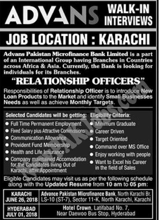 Walk in Interview Jobs in ADVANS Pakistan Microfinance Bank Limited