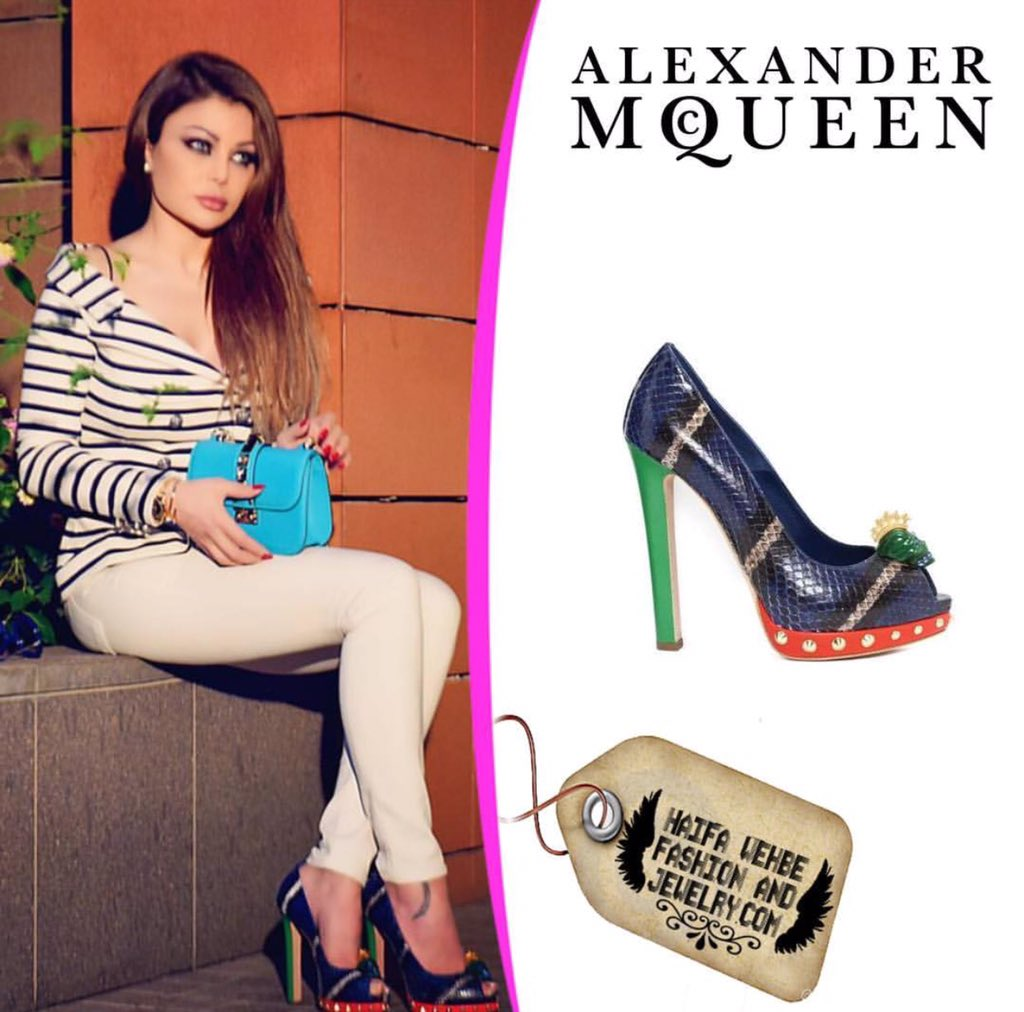Haifa Wehbe Wearing Alexander Mcqueen Python Multicolor Pumps with Skull  Details 6c7777ed31c2e