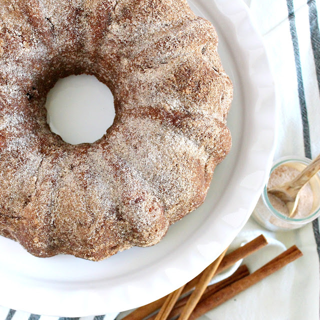Apple Cider Spiced Donut Cake from LoveandConfections.com #AppleWeek #sponsored