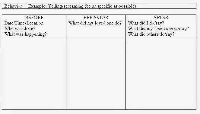 My Aspergers Child July 2014 - behavior log examples