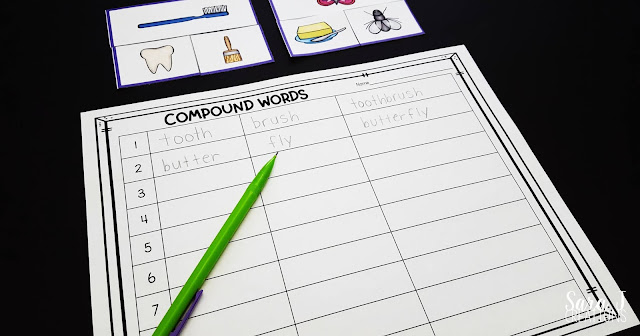 These FREE Printable Compound Word Puzzles are the perfect way to add fun activities to your literacy centers. Students will have so much fun playing these games that they won't even realize you are teaching them all about compound words. The puzzles come with a recording sheet so students can write their answers on the worksheet for an added level of accountability. This freebie is ideal for first grade and 2nd grade.