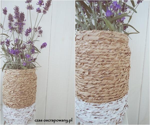 wazon ze słoika i papieru pakowego, oszukana wiklina