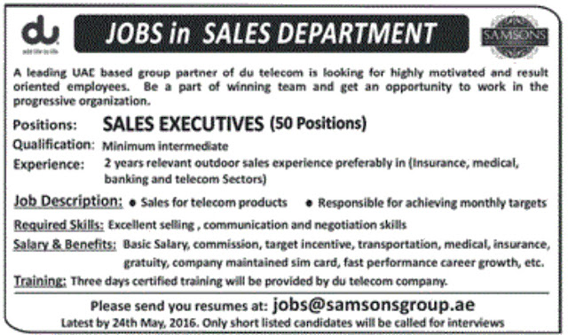 50 Sales Executives Jobs in SAMSON UAE Based Group for Freshers