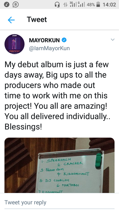 DMW's Mayorkun lists producers featured on his debut album
