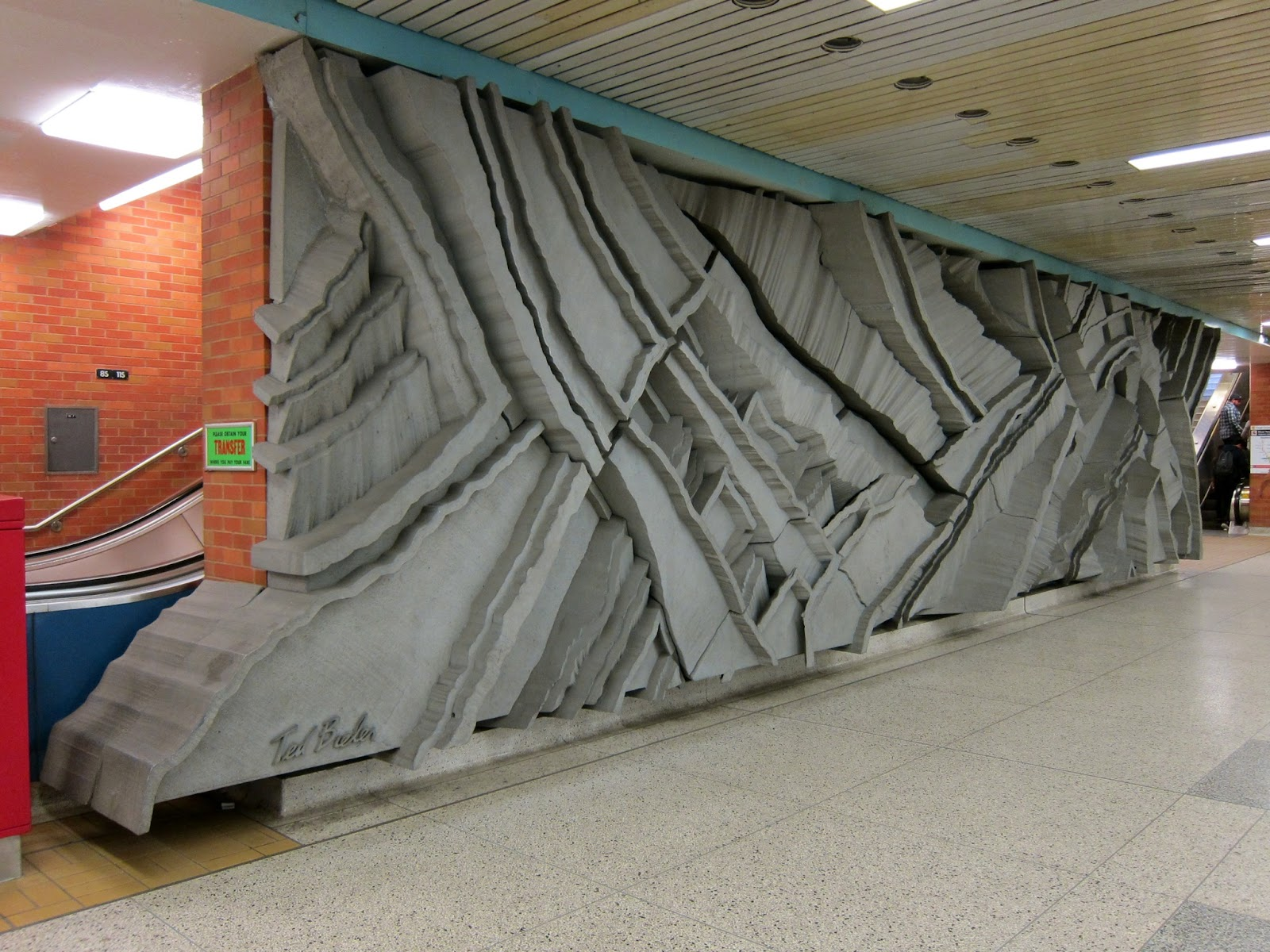 Ted Bieler's wall sculpture Canyons in Wilson station's mezzanine
