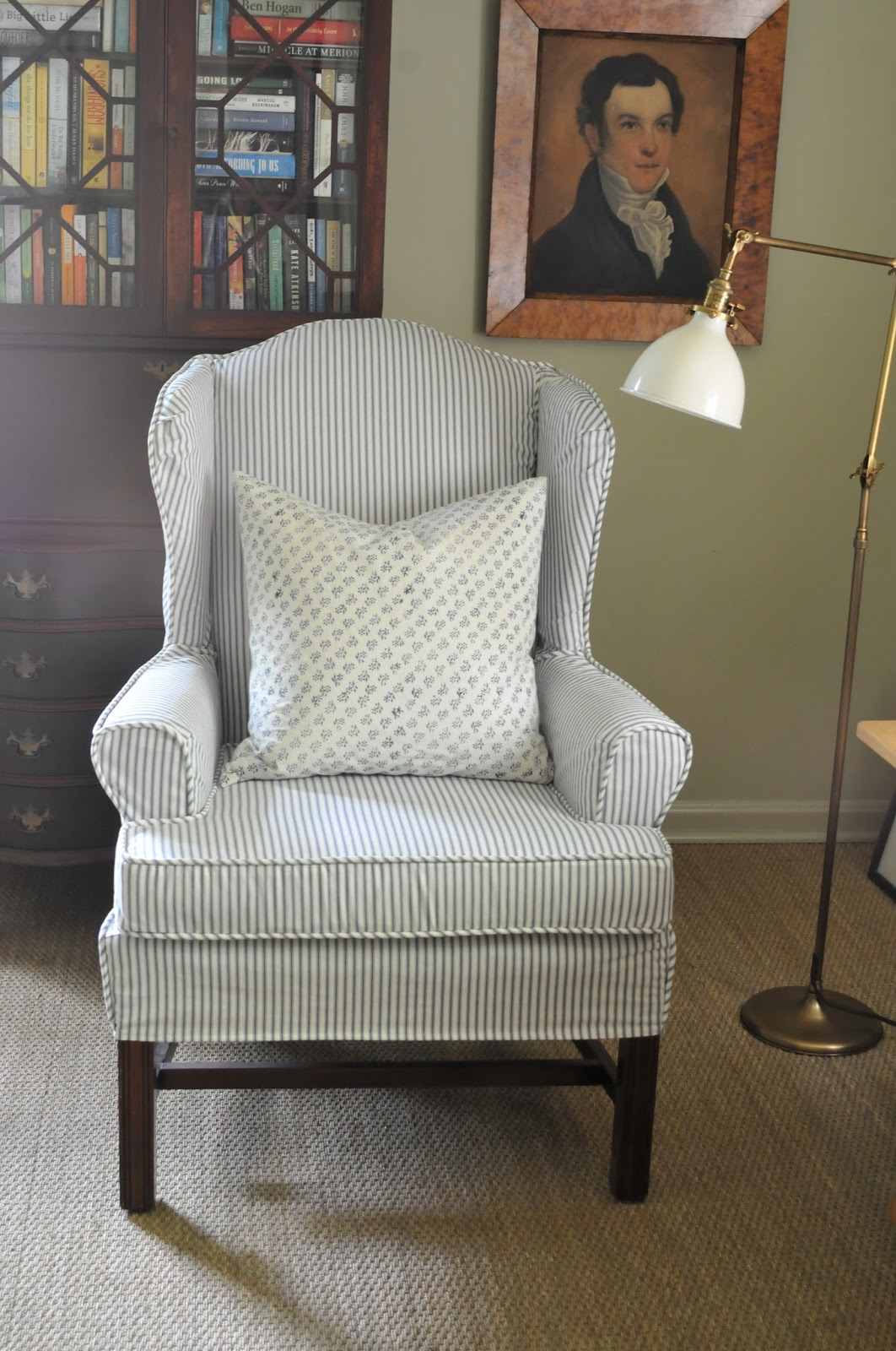 Blue Wingback Chair Covers Grey Banquet Nine 43 Sixteen Ticking 101 My Favorite Fabrics