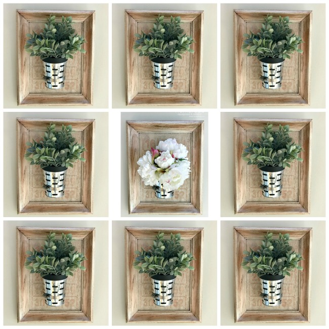 gallery wall of diy olive bucket planters in frames. Homeroad.net