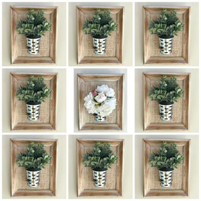 gallery wall of diy olive bucket planters in frames. Homeroad.net