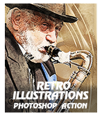 \ RetroIllustrations - Concept Mix Photoshop Action
