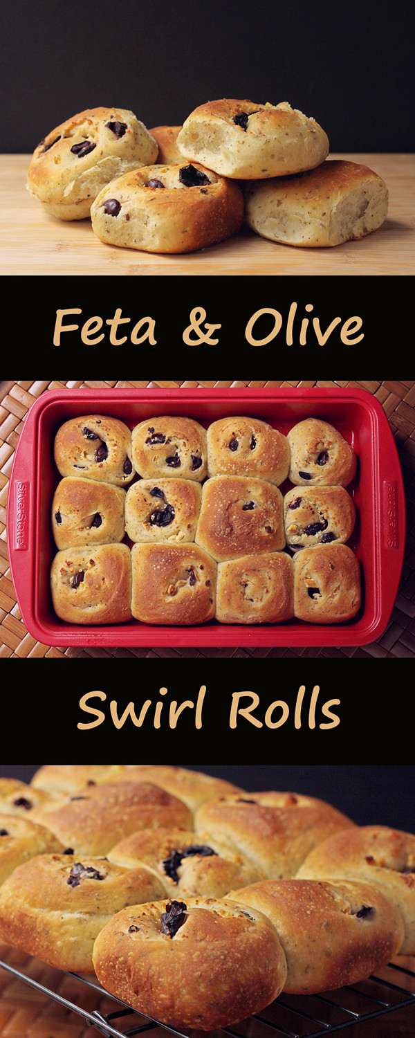 Feta and Olive Swirl Rolls