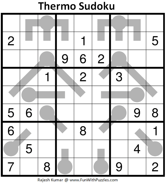 Thermometer Sudoku Puzzle (Fun With Sudoku #385)