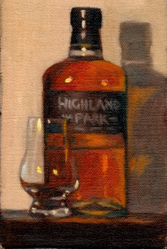 Oil painting of a bottle of Highland Park whisky beside a Glencairn whisky glass.