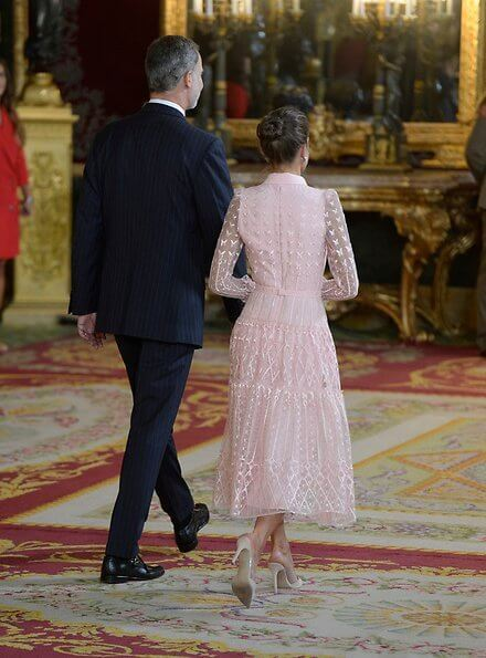 Queen Letizia wore a new pink embroidered tulle midi dress by Felipe Varela