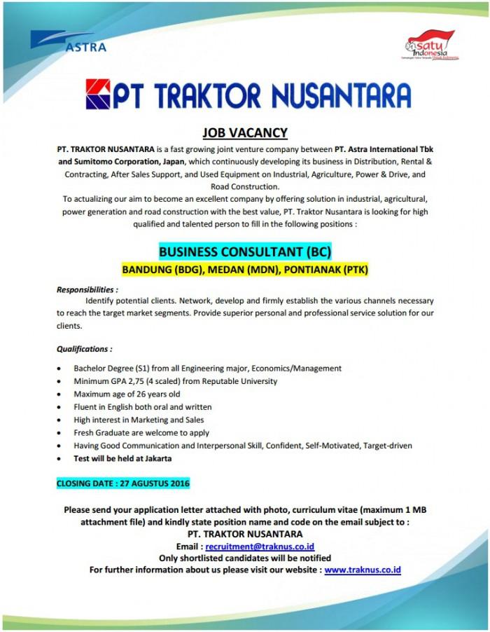 Lowongan Kerja Business Consultant PT Traktor Nusantara