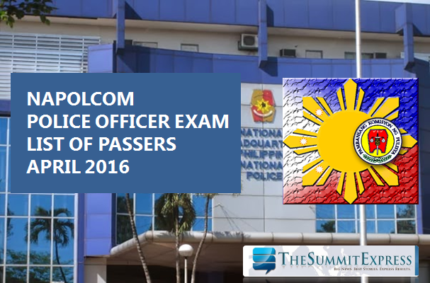 April 2016 NAPOLCOM Police Policer Promotional Exam results