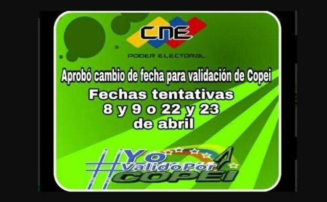 CNE cambió para el mes de abril la validación de Copei