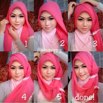 Tutorial hijab untuk wajah bulat agar terlihat tirus