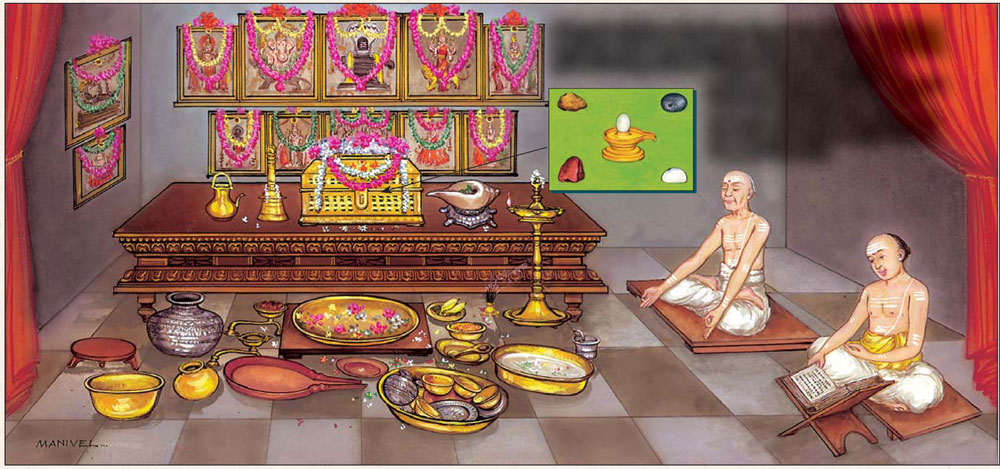 A Smarta shrine: A brahmin chants the Vedas as his father meditates after morning puja. Pictures honor major Deities of the Hindu pantheon. Ritual ablution has just been performed to five small Shaligrama stones (see inset) now encased in an ornate chest; Sivalinga (center), Devi (clockwise from top), Vishnu, Sun and Ganesha.