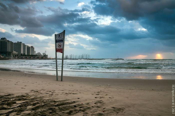Tel Aviv Sunset Storm 010a Hilton Beach: The Storming Sea Tel Aviv Photos Art Images Pictures TLVSpot.com