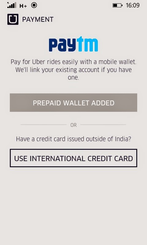 Paytm wallet option added into Uber windows app
