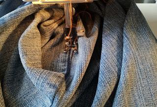 use colored thread for old jeans craftrebella