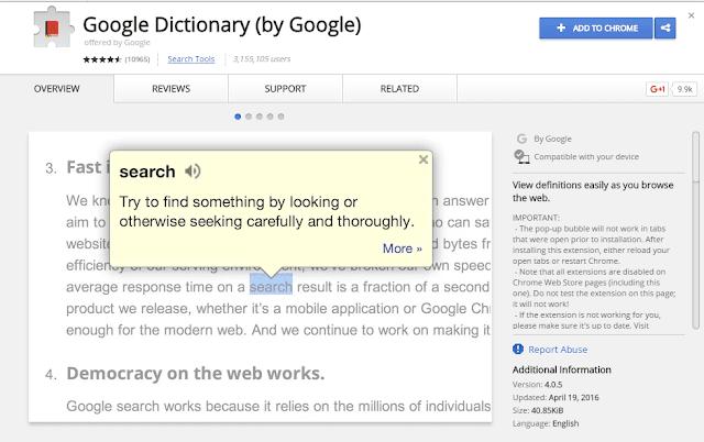 Google dictionary