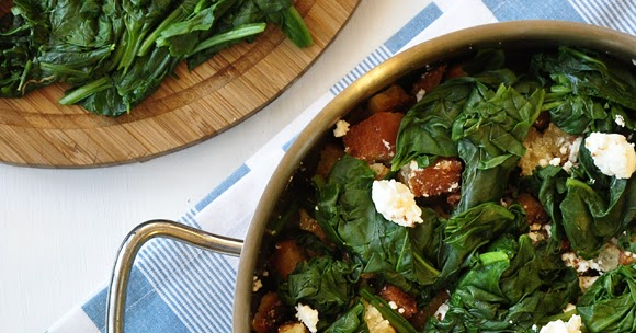 Confessions Of A Spoon Spinach With Feta Cheese And Croutons