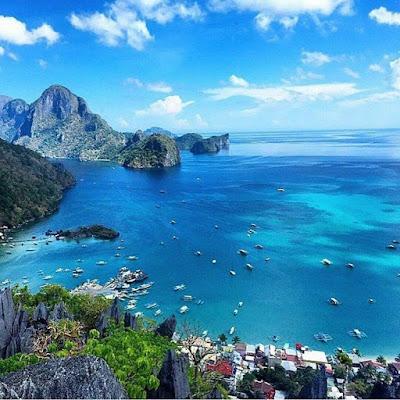 Палаван, Филиппины. Palawan, Philippines вид с горы на море, бухта