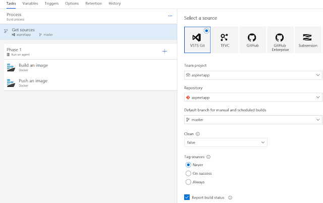 VSTS Build - Select a source