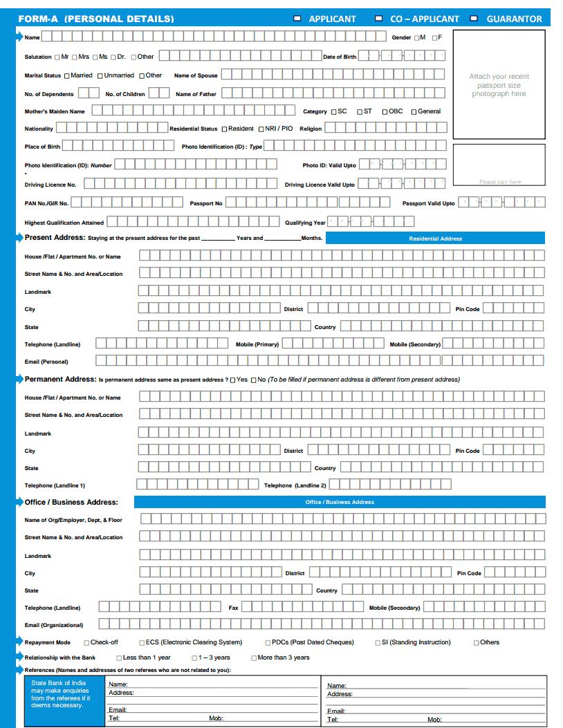 Sbi Car Loan Application Pdf