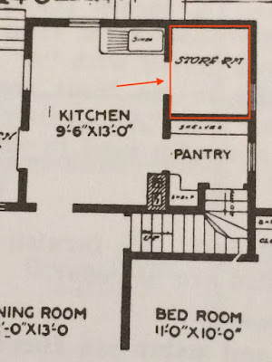 close up of back right corner of Sears No. 110 floor plan with no bathroom 1912