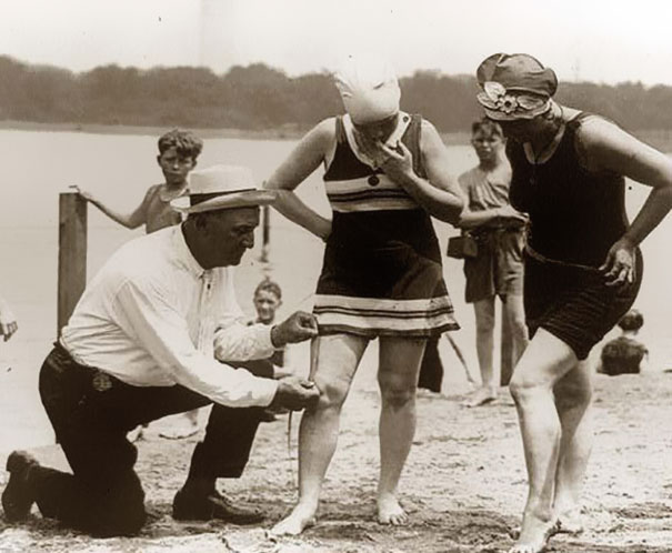 Measuring bathing suits – if they were too short, women would be fined, 1920's