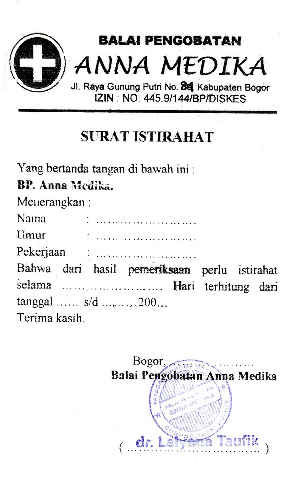 Contoh Surat Dokter Kosong Jakarta