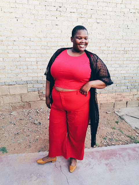 plus size blogger styling all red, south african plus size blogger, plus size sheer kimono, plus size red pants, plus size sheer duster,