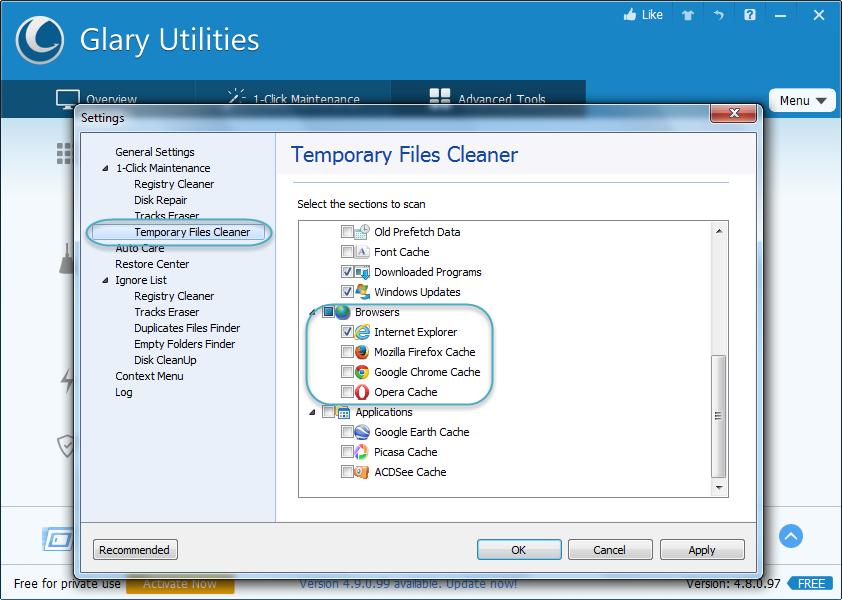 Browser Cache on Glary utilities