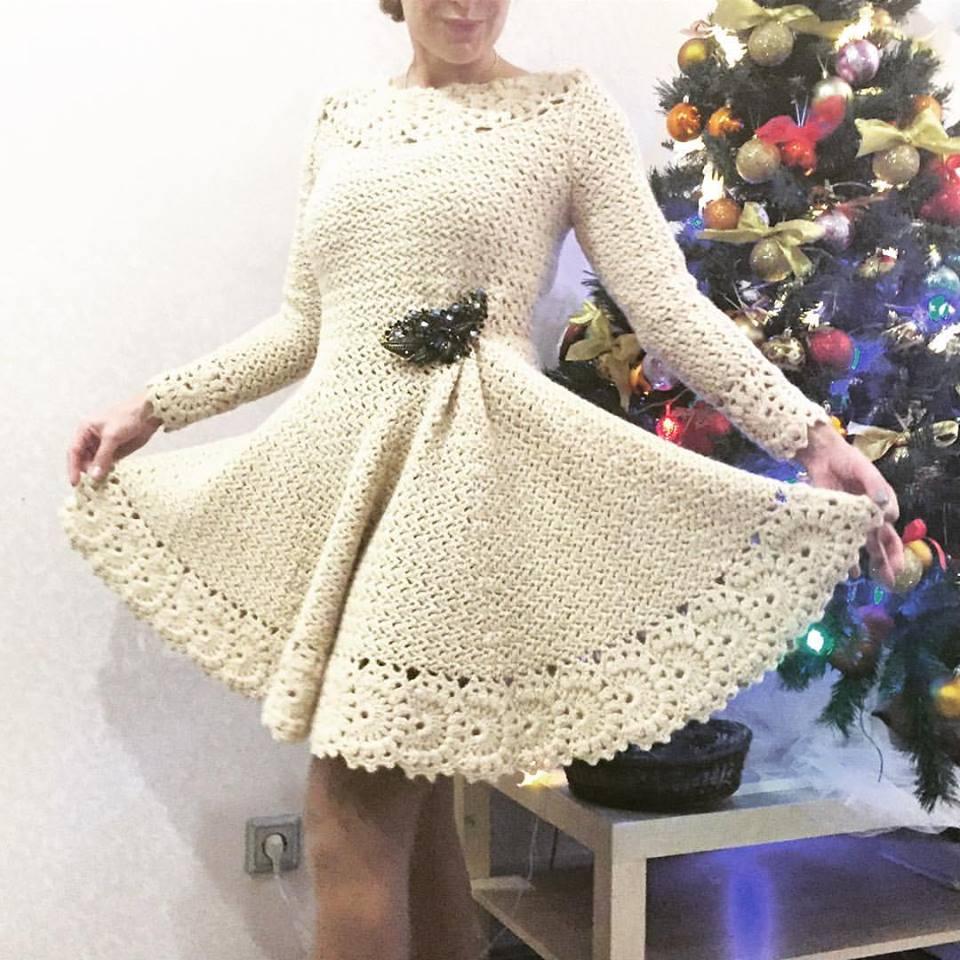 d8c2e39b6dfd Vestido em Crochê com Gráfico - Katia Ribeiro Crochê Moda e Decoração