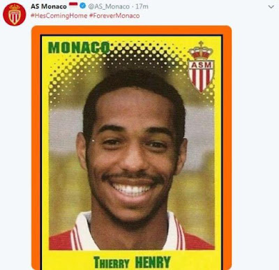 Monaco announced Henry's arrival with a retro football sticker