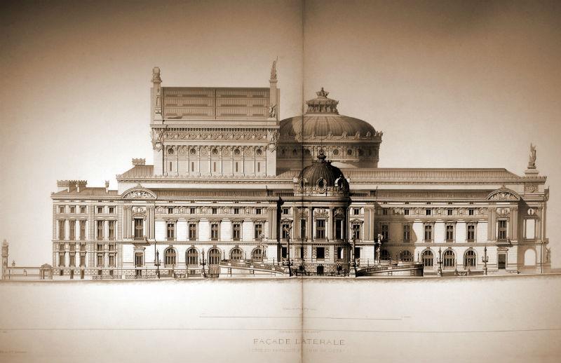 Alzado lateral de la Ópera Garnier