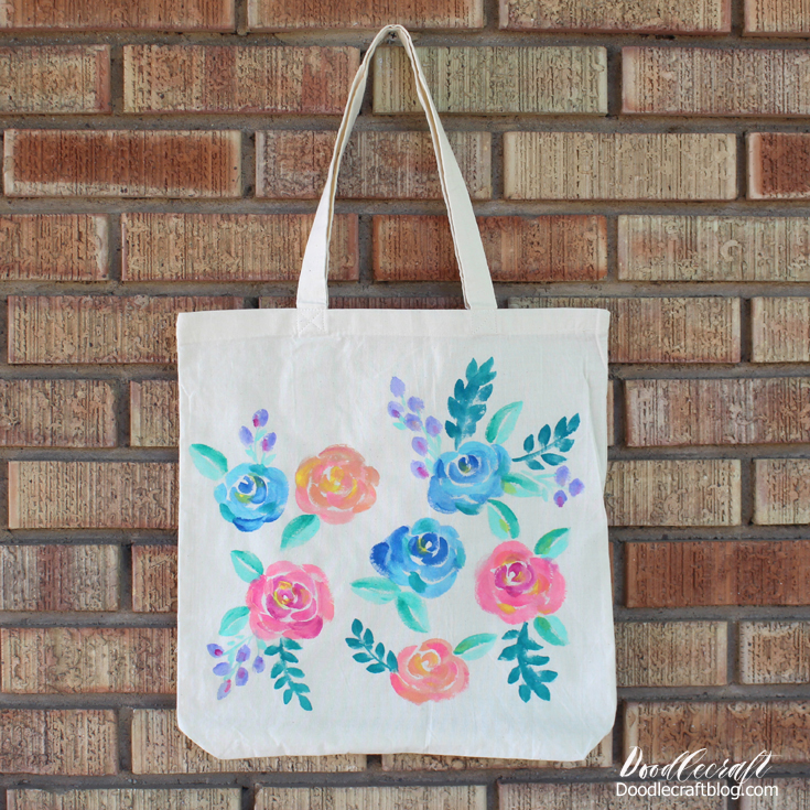 Watercolor Fl Painted Tote Bag Diy