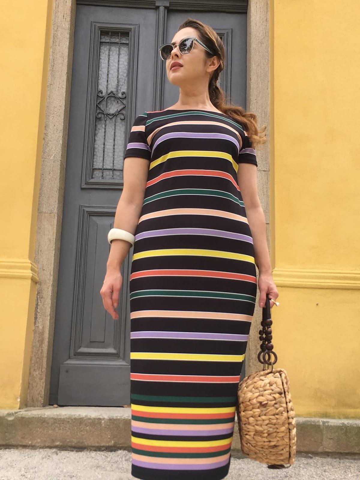 Moda Da Dani Meu Look Vestido Midi De Listras Coloridas