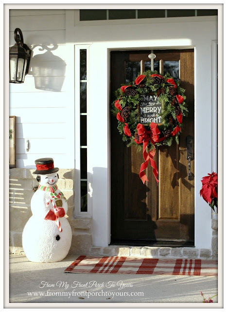 Farmhouse Christmas Porch-Christmas Wreath-Plaid Rug-From My Front Porch To Yours