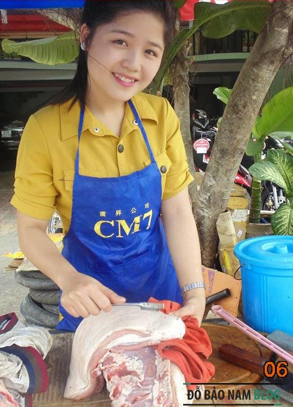 Hot girl bán thịt lợn